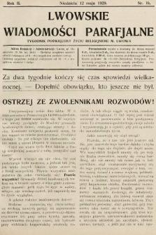 Lwowskie Wiadomości Parafialne : tygodnik poświęcony życiu religijnemu m. Lwowa. 1929, nr19