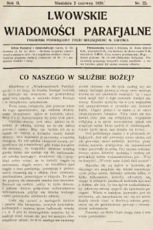 Lwowskie Wiadomości Parafialne : tygodnik poświęcony życiu religijnemu m. Lwowa. 1929, nr22