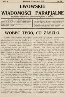 Lwowskie Wiadomości Parafialne : tygodnik poświęcony życiu religijnemu m. Lwowa. 1929, nr24 [numer skonfiskowany]