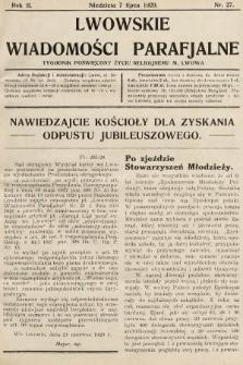 Lwowskie Wiadomości Parafialne : tygodnik poświęcony życiu religijnemu m. Lwowa. 1929, nr27