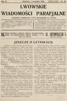 Lwowskie Wiadomości Parafialne : tygodnik poświęcony życiu religijnemu m. Lwowa. 1929, nr35