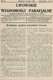 Lwowskie Wiadomości Parafialne : tygodnik poświęcony życiu religijnemu m. Lwowa. 1929, nr49
