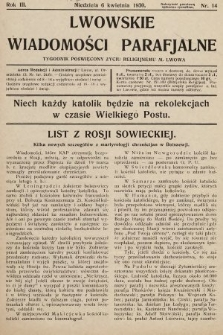 Lwowskie Wiadomości Parafialne : tygodnik poświęcony życiu religijnemu m. Lwowa. 1930, nr14