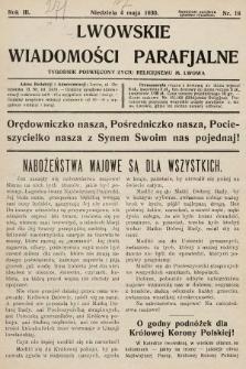 Lwowskie Wiadomości Parafialne : tygodnik poświęcony życiu religijnemu m. Lwowa. 1930, nr18