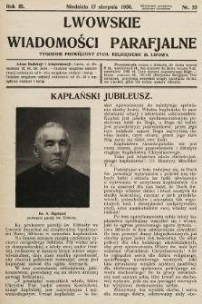 Lwowskie Wiadomości Parafialne : tygodnik poświęcony życiu religijnemu m. Lwowa. 1930, nr33