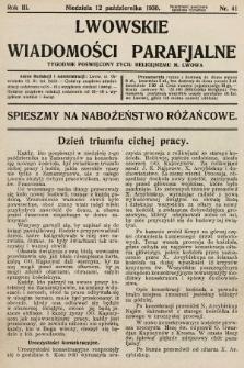 Lwowskie Wiadomości Parafialne : tygodnik poświęcony życiu religijnemu m. Lwowa. 1930, nr41