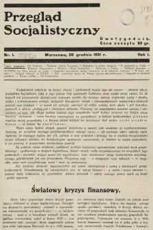 Przegląd Socjalistyczny. 1931, nr1