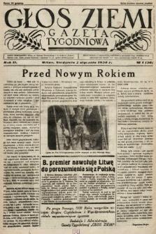 Głos Ziemi : gazeta tygodniowa. 1938, nr1
