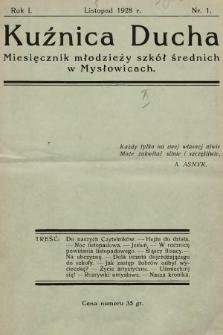 Kuźnica Ducha : miesięcznik młodzieży szkół średnich. 1928, nr1
