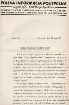 Polska Informacja Polityczna : agencja publicystyczna = Information Politique Polonaise : agence de presse. 1937, nr20 (59)