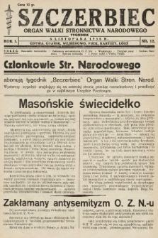Szczerbiec : organ walki Stronnictwa Narodowego. 1938, nr12