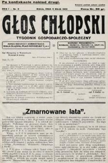 Głos Chłopski : tygodnik gospodarczo-społeczny. 1931, nr2 (po konfiskacie nakład drugi)