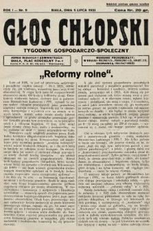 Głos Chłopski : tygodnik gospodarczo-społeczny. 1931, nr9