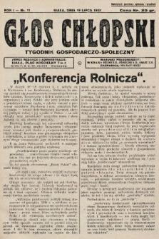 Głos Chłopski : tygodnik gospodarczo-społeczny. 1931, nr11