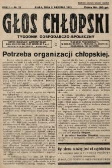 Głos Chłopski : tygodnik gospodarczo-społeczny. 1931, nr13
