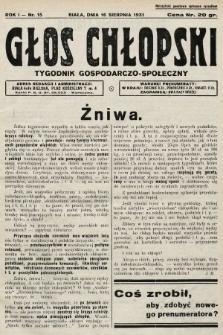 Głos Chłopski : tygodnik gospodarczo-społeczny. 1931, nr15