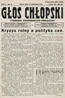 Głos Chłopski : tygodnik gospodarczo-społeczny. 1931, nr19