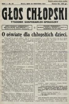 Głos Chłopski : tygodnik gospodarczo-społeczny. 1931, nr20