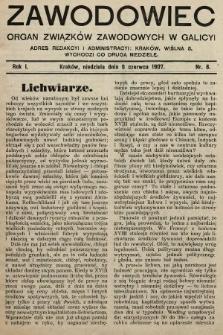 Zawodowiec : organ związków zawodowych w Galicyi. 1907, nr8