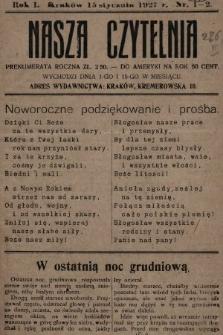 Nasza Czytelnia. 1927, nr1-2