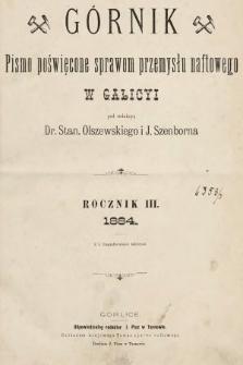 Górnik : pismo poświęcone sprawom górnictwa naftowego w Galicyi. 1884, indeks