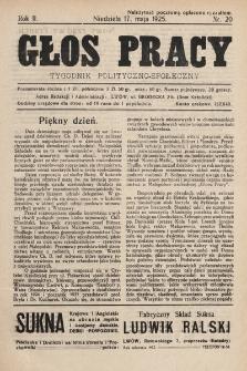 Głos Pracy : tygodnik polityczno-społeczny. 1925, nr20