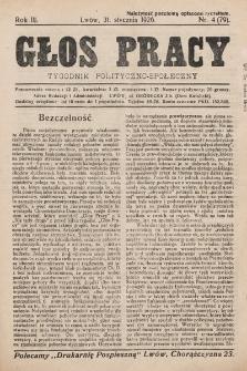 Głos Pracy : tygodnik polityczno-społeczny. 1926, nr4