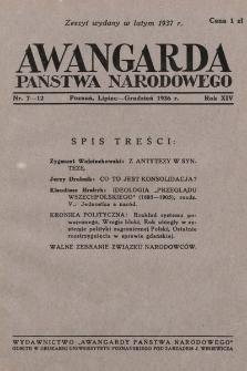 Awangarda Państwa Narodowego. 1936, nr7-12
