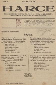 Harce : pismo młodzieży polskiej : organ oficjalny Naczelnictwa Harcerskiego. 1918, nr1