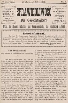 Sprawiedliwość = Die Gerechtigkeit : Organ für Handel, Industrie und Angelegenheiten des öffentlichen Lebens. 1894, nr6