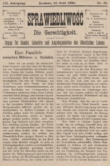 Sprawiedliwość = Die Gerechtigkeit : Organ für Handel, Industrie und Angelegenheiten des öffentlichen Lebens. 1895, nr12