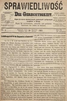 Sprawiedliwość = Die Gerechtigkeit : Organ für oeconomische, culturelle u. politische Interessen der Juden in Galizien. 1901, nr2