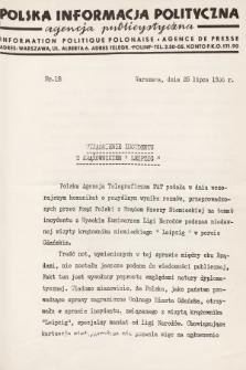Polska Informacja Polityczna : agencja publicystyczna = Information Politique Polonaise : agence de presse. 1936, nr18