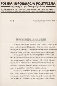 Polska Informacja Polityczna : agencja publicystyczna = Information Politique Polonaise : agence de presse. 1936, nr22