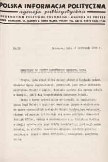 Polska Informacja Polityczna : agencja publicystyczna = Information Politique Polonaise : agence de presse. 1936, nr33