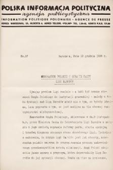 Polska Informacja Polityczna : agencja publicystyczna = Information Politique Polonaise : agence de presse. 1936, nr37