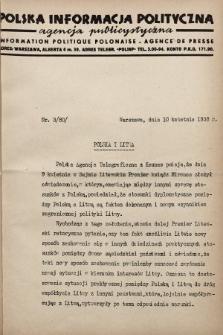 Polska Informacja Polityczna : agencja publicystyczna = Information Politique Polonaise : agence de presse. 1938, nr3