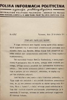 Polska Informacja Polityczna : agencja publicystyczna = Information Politique Polonaise : agence de presse. 1938, nr4