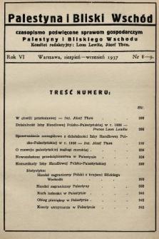 Palestyna i Bliski Wschód : czasopismo poświęcone sprawom gospodarczym Palestyny i Bliskiego Wschodu : organ Polsko-Palestyńskiej Izby Handlowej. 1937, nr8-9