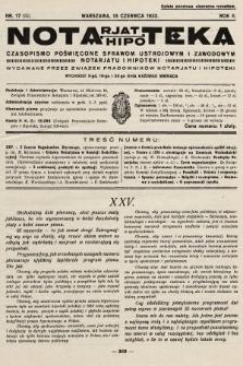 Notarjat-Hipoteka : czasopismo poświęcone sprawom ustrojowym i zawodowym notarjatu i hipoteki. 1932, nr17