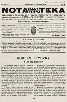 Notarjat-Hipoteka : czasopismo poświęcone sprawom ustrojowym i zawodowym notarjatu i hipoteki. 1932, nr23
