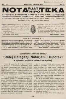Notarjat-Hipoteka : czasopismo poświęcone sprawom ustrojowym i zawodowym notarjatu i hipoteki. 1933, nr7