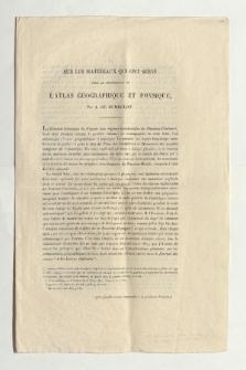 Sur les matériaux qui ont servi pour la construction de l'Atlas géographique et physique (Drucktitel)