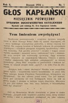Głos Kapłański : miesięcznik poświęcony sprawom duchowieństwa katolickiego. 1936, nr1