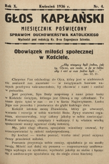 Głos Kapłański : miesięcznik poświęcony sprawom duchowieństwa katolickiego. 1936, nr4