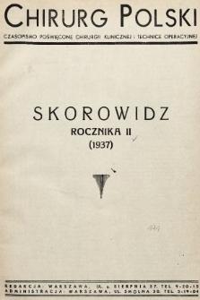 Chirurg Polski : czasopismo poświęcone chirurgji klinicznej i technice operacyjnej. 1937, skorowidz rocznika