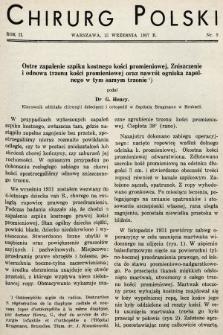 Chirurg Polski : czasopismo poświęcone chirurgji klinicznej i technice operacyjnej. 1937, nr9