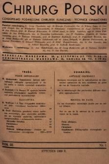 Chirurg Polski : czasopismo poświęcone chirurgji klinicznej i technice operacyjnej. 1938, nr1