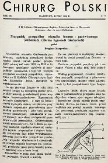 Chirurg Polski : czasopismo poświęcone chirurgji klinicznej i technice operacyjnej. 1938, nr7