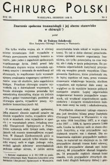 Chirurg Polski : czasopismo poświęcone chirurgji klinicznej i technice operacyjnej. 1938, nr8